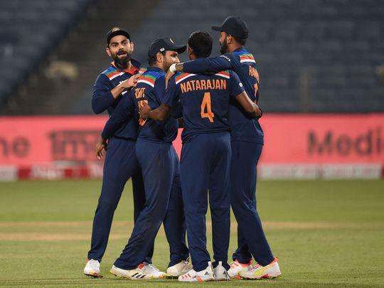 India celebrate their ODI series win over England
