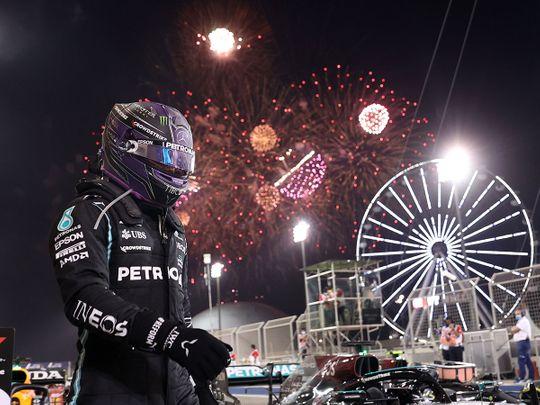 Lewis Hamilton after winning the Bahrain Grand Prix