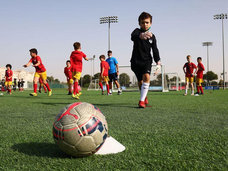 Players train at ISD La Liga acadeny in Dubai Sports City