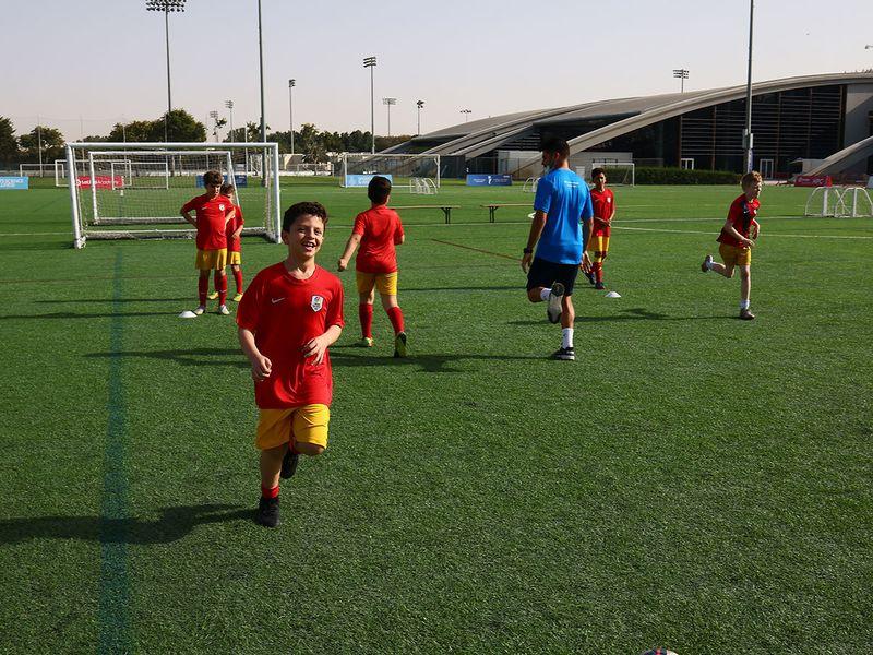 Players train at the Inspiratus Sports District La Liga Academy