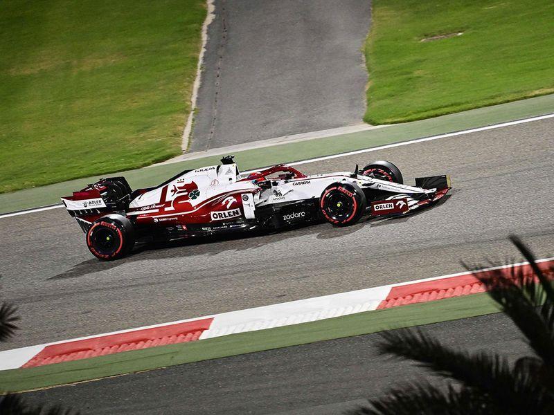Alfa Romeo's Finnish driver Kimi Raikkonen during the Bahrain Formula One Grand Prix
