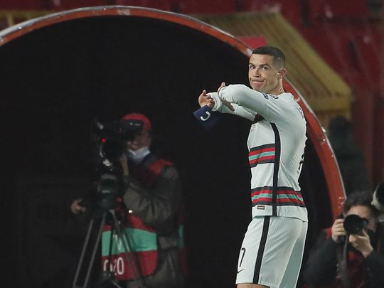 Cristiano Ronaldo throws captain's armband during Fifa World Cup 2022 qualifier between Portugal and Serbia.