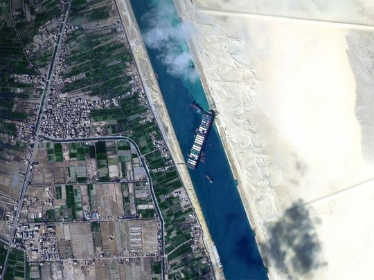 Massive container ship Ever Given stick at Suez Canal