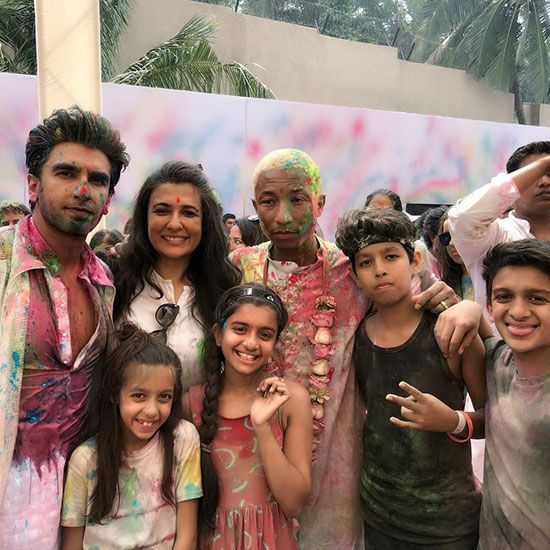 Ranveer Singh, Mini Mathur and Pharrell Williams in Ranveer Singh's Holi Party