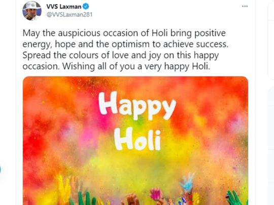 VVS Laxman wished his followers a happy Holi