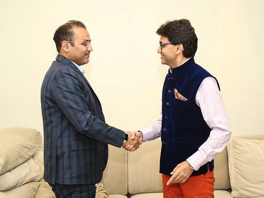 Anis Sajan with Virendra Sehwag