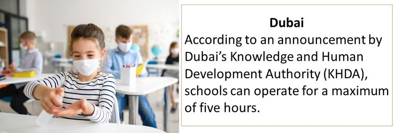 Dubai According to an announcement by Dubai's Knowledge and Human Development Authority (KHDA), schools can operate for a maximum of five hours.