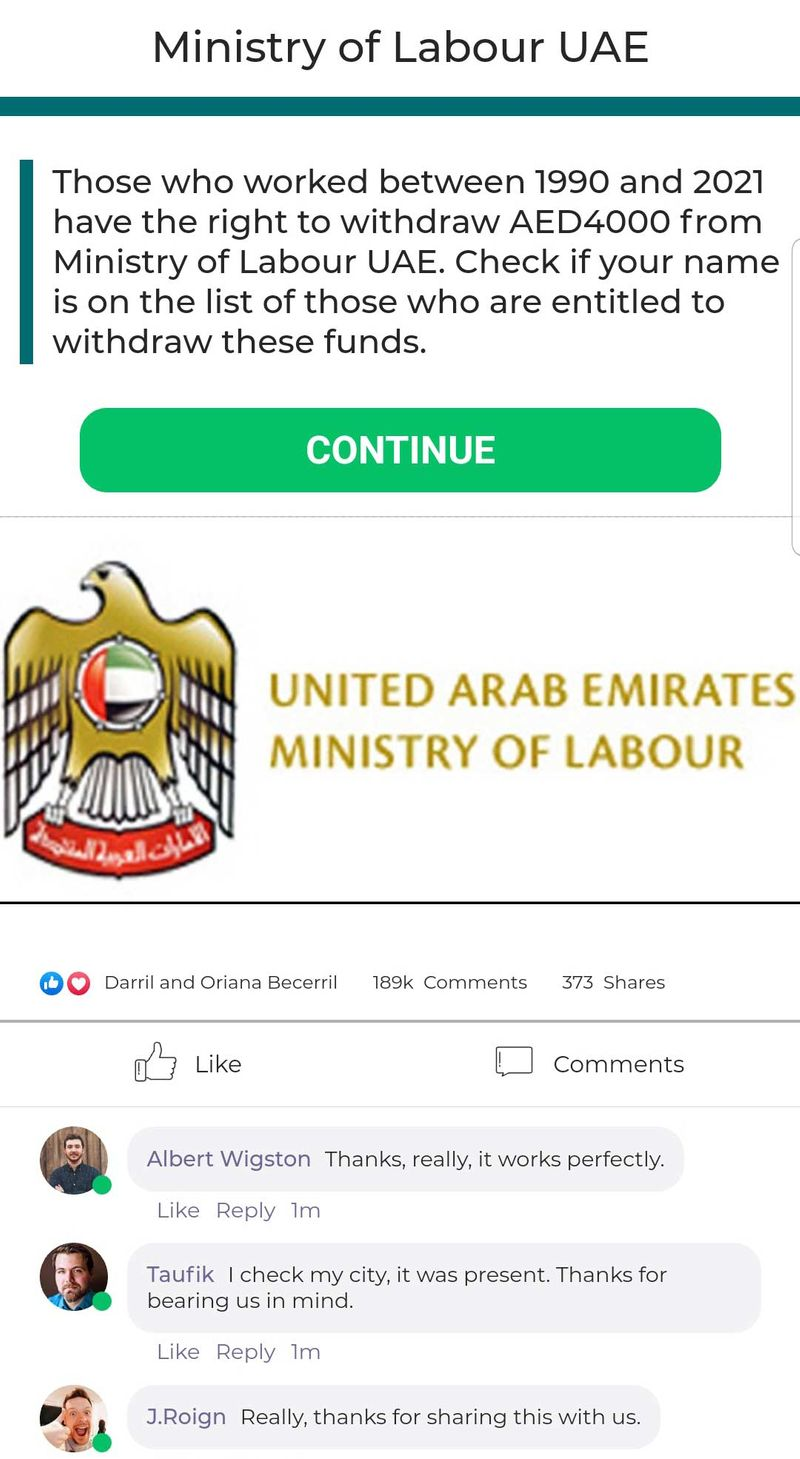 Scam of website UAE Ministry of Labour
