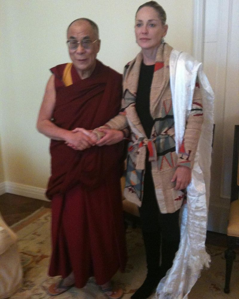 The Dalai Lama with Sharon Stone