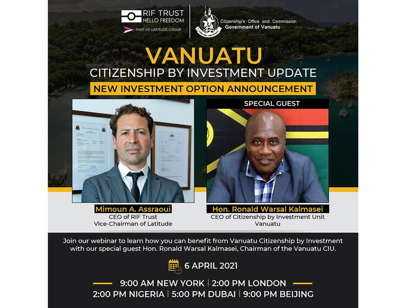 RIF Trust hosts Vanuatu Citizenship by Investment Webinar