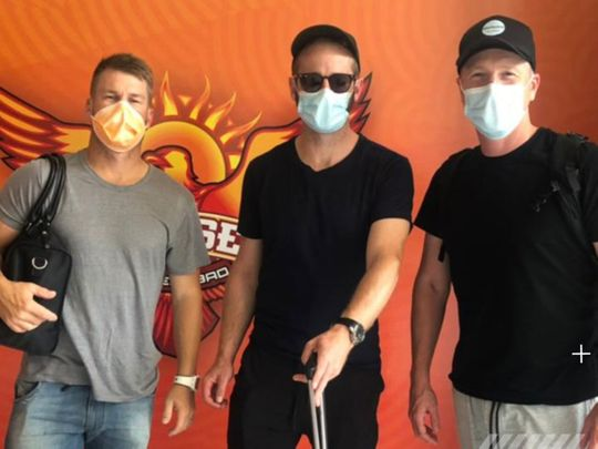 David Warner, Kane Williamson and Brad Haddin arrive for Sunrisers Hyderabad