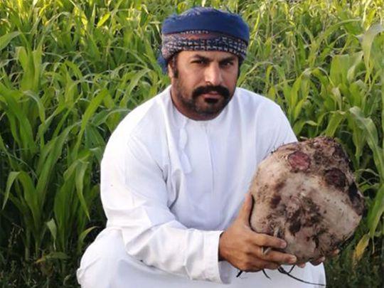 Khalid bin Hilal Al-Hajji with the 8kg beetroot.