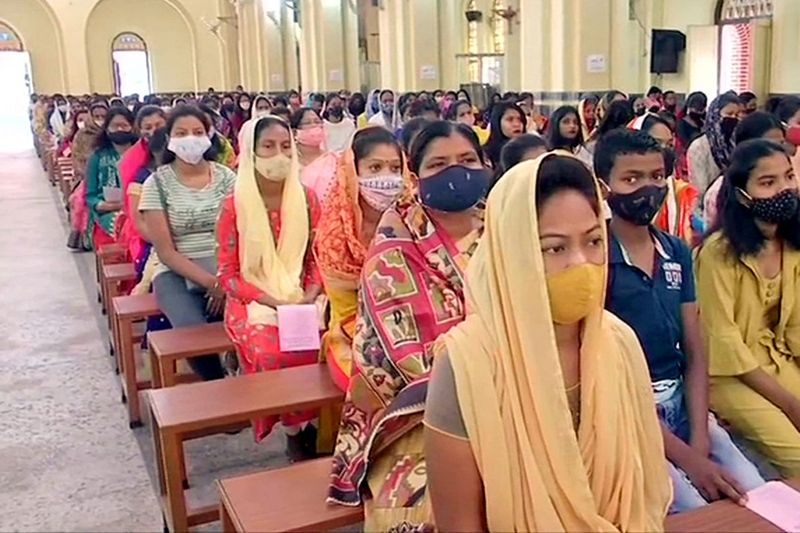 Devotees offer prayers at St. Mary's Cathedral on the occasion of Easter in Ranchi on Sunday.