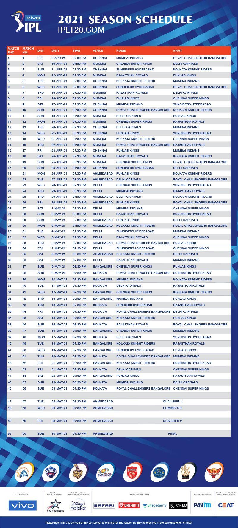 Cricket-IPL schedule