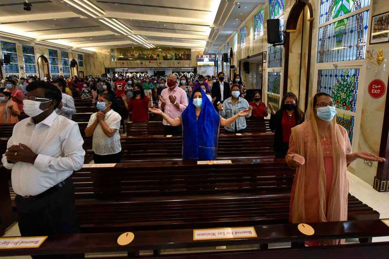 Easter prayer at St. Michael's Catholic Church in Sharjah. 4th April 2021