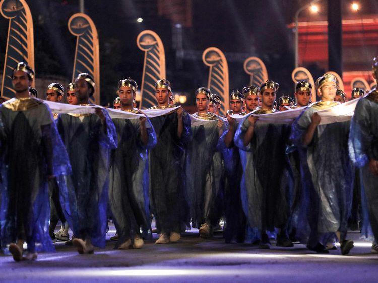 Egyptian mummy parade