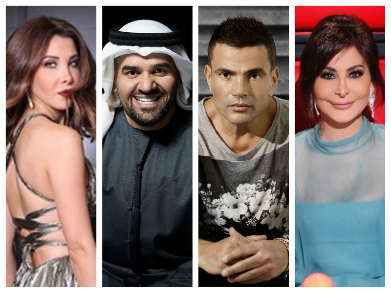 Nancy Ajram, Hussain Al Jassmi, Amr Diab and Elissa