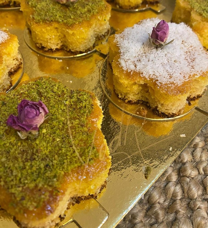 Traditional Middle Eastern Basbousa dessert by Um zayed sweets and pastries