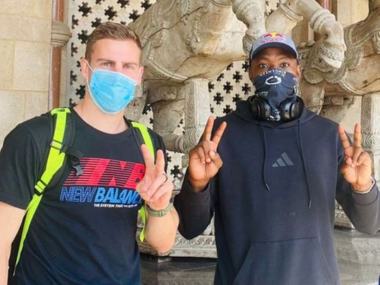 Delhi Capitals'  Anrich Nortje and Kagiso Rabada arive at the team hotel in Mumbai