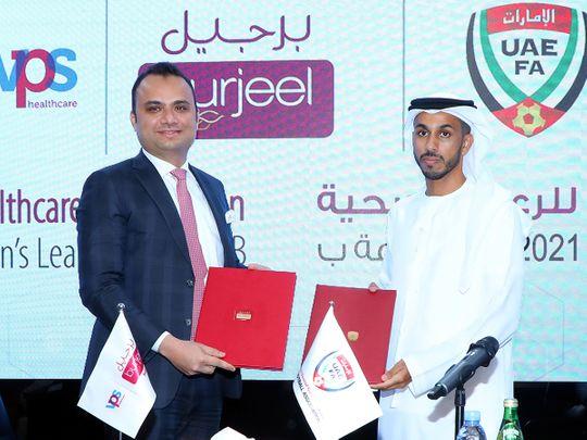 Dr Shajir Gaffar, CEO, VPS Healthcare, and Mohammed Hazzam Al Dhaheri, General Secretary, UAEFA, at the partnership signing ceremony in Dubai