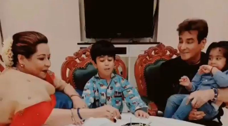 Jeetendra with his wife and grandchildren