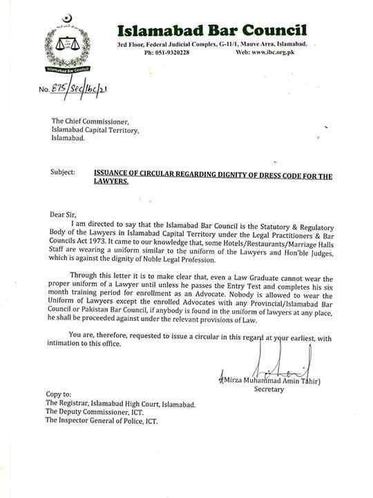 Letter Islamabad Bar Council Pakistan lawyer