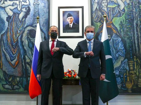 Shah Mahmood Qureshi with his Russian counterpart Sergey Lavrov Pakistan