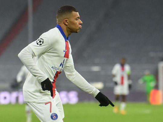 Paris St-Germain forward Kylian Mbappe celebrates scoring against Bayern Munich