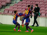 Barcelona's Ousmane Dembele celebrates with Lionel Mess after scoring against Valladolid