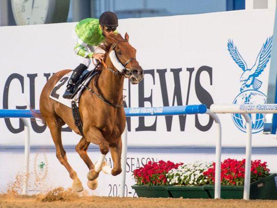 Bochart, ridden by Fabrice Veron, wins the Gulf News race at Meydan