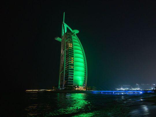 Burj Al Arab turns green