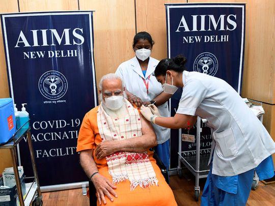 Prime Minister Narendra Modi receives the second dose of COVID-19 vaccine, at AIIMS in New Delhi.