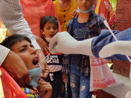 swab sample India children covid