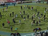 Jockeys and trainers stand for a minute's silence to mark the passing of Prince Philip, Duke of Edinburgh