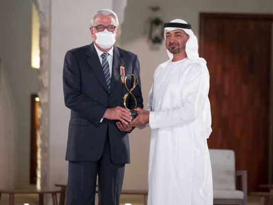 Dr Essam Eldin Mohamed El Shammaa with His Highness Sheikh Mohamed bin Zayed Al Nahyan.