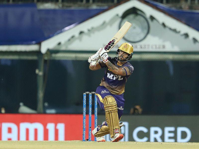 Nitish Rana of Kolkata Knight Riders plays a shot.