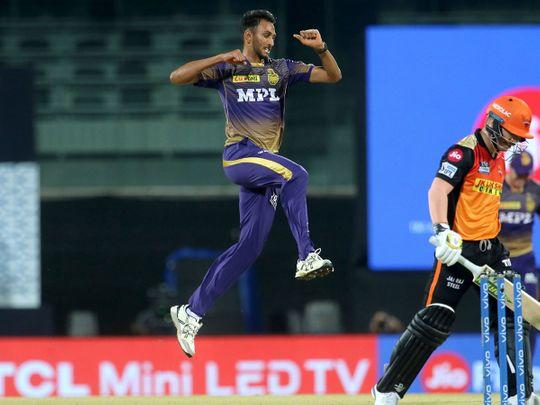 Prasidh Krishna of Kolkata Knight Riders celebrates the wicket of David Warner of Sunrisers Hyderabad.