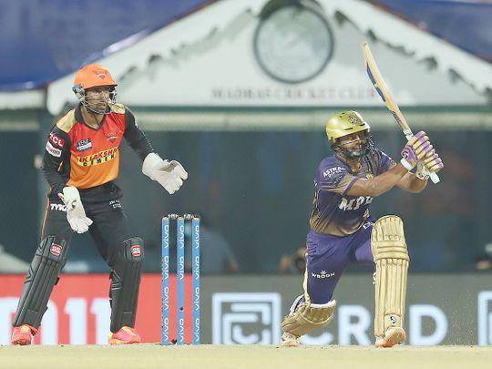 Rahul Tripathi of Kolkata Knight Riders plays a shot.