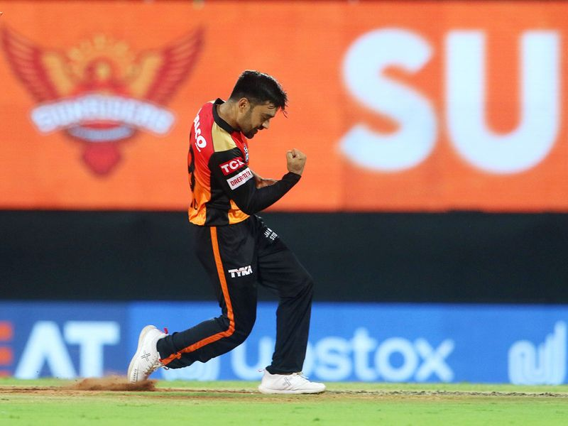 Rashid Khan of Sunrisers Hyderabad celebrates the wicket of Shubman Gill of Kolkata Knight Riders.