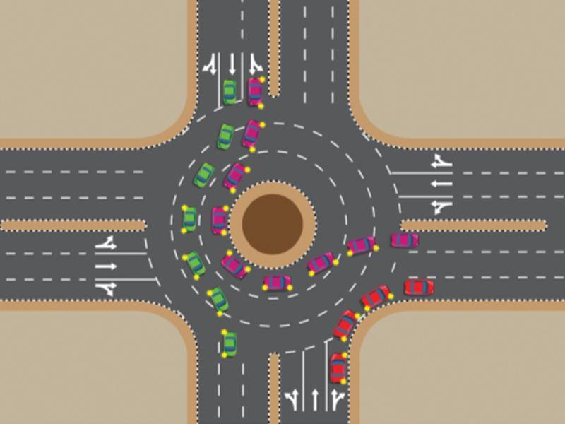 Three-lane roundabout