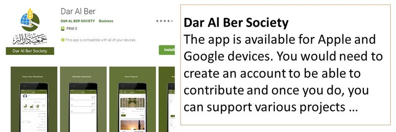 Dar Al Ber Society The app is available for Apple and Google devices. You would need to create an account to be able to contribute and once you do, you can support various projects …