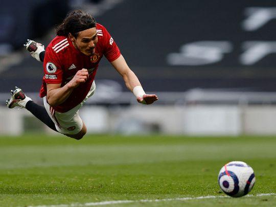 Manchester United's Edinson Cavani against Tottenham Hotspur.