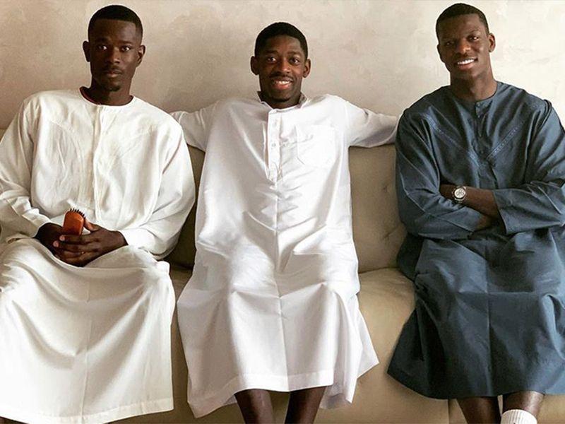 Ousmane Dembele (centre) celebrates Eid.