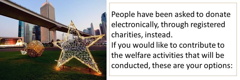 People have been asked to donate electronically, through registered charities, instead. If you would like to contribute to the welfare activities that will be conducted, these are your options:
