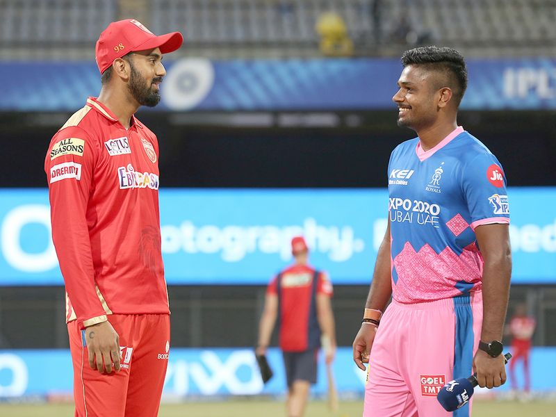 Rajasthan Royals skipper Sanju Samson (right) and Punjab Kings captain KL Rahul
