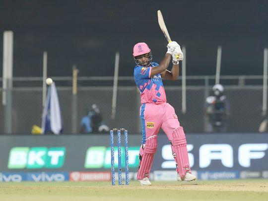 Sanju Samson, captain of Rajasthan Royals plays a shot.
