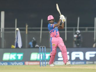 Sanju Samson, captain of Rajasthan Royals plays a shot.