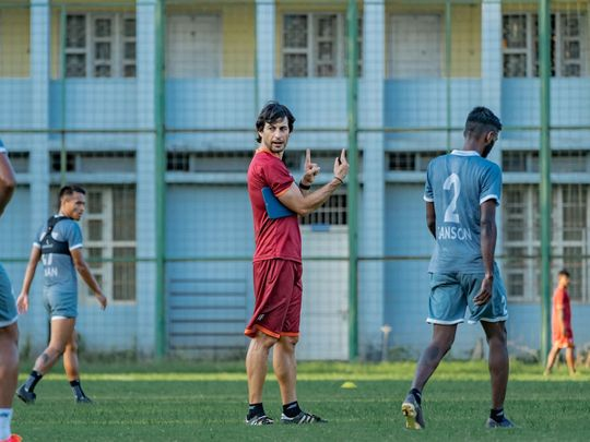 Coach Juan Ferrando during an FC Goa training session
