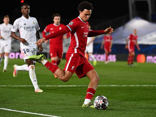 Liverpool's Trent Alexander Arnold in the Champions League against Real Madrid.