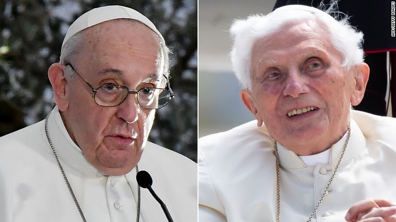 Pope Francis and former Pope Benedict